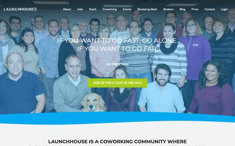 Screenshot of Home Page launchhouse.com - LaunchHouse | Coworking Cleveland | Co Op Work Space | Office Space - captured Sept. 27, 2018