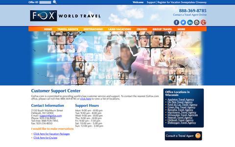 Screenshot of Support Page gofox.com - Customer Support Center - captured Oct. 6, 2014