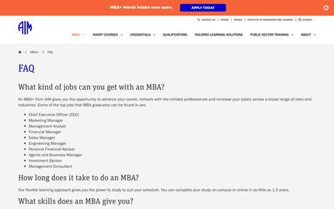 Screenshot of FAQ Page aim.com.au - FAQ | AIM Education & Training - captured March 16, 2019