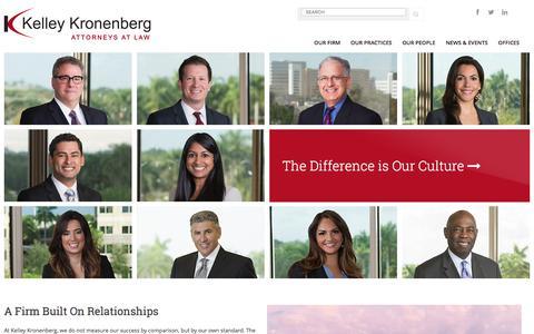 Screenshot of Home Page kelleykronenberg.com - A Firm Built On Relationships : Kelley Kronenberg - captured Jan. 9, 2016