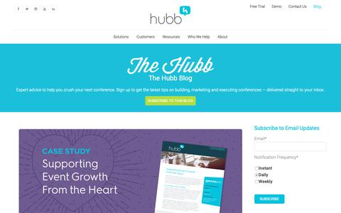 Screenshot of Case Studies Page hubb.me - The Hubb Blog for Conference Planners | Event Management Software | Hubb | Case Study - captured June 25, 2019