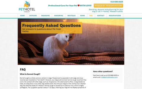 Screenshot of FAQ Page pethotelhadley.com - Frequently Asked Pet Questions |  Pet Hotel Hadley - captured Sept. 29, 2014