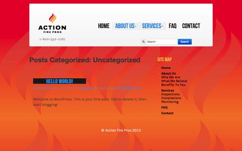 Screenshot of About Page Services Page actionfirepros.com - Uncategorized   Action Fire Pros - Responsive, Dependable, Fire Protection Services, Done Right - captured Oct. 23, 2014