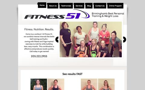 Screenshot of Home Page fitness51.com - Fitness 51 Best Personal Training & Weight Loss, Birmingham, AL - captured Aug. 13, 2018