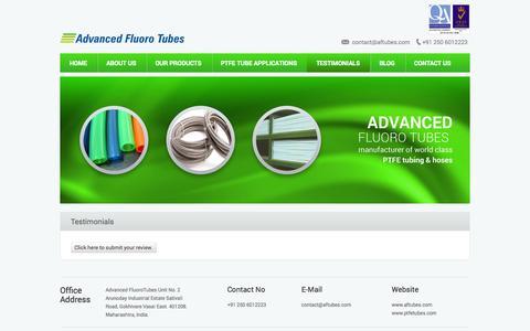 Screenshot of Testimonials Page aftubes.com - Advanced Fluoro Tubes » Testimonials - captured Nov. 2, 2014