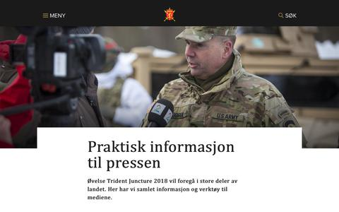 Screenshot of Press Page forsvaret.no - Praktisk informasjon til pressen - forsvaret.no - captured Nov. 11, 2018