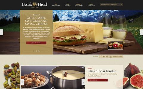 Screenshot of Home Page boarshead.com - Premium Deli | Meats | Cheeses | Recipes | Ingredients | Boar's Head - captured Sept. 24, 2014