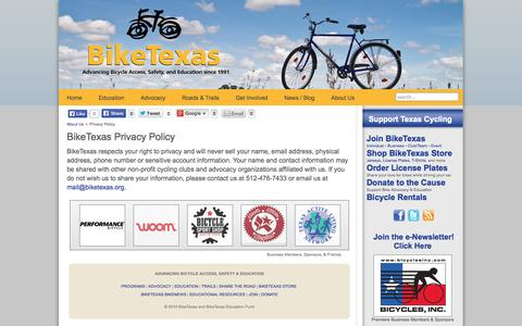Screenshot of Privacy Page biketexas.org - BikeTexas Privacy Policy   BikeTexas - captured Sept. 30, 2014
