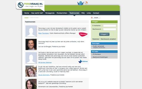 Screenshot of Testimonials Page persvraag.nl - Testimonials | Persvraag - captured Sept. 29, 2014