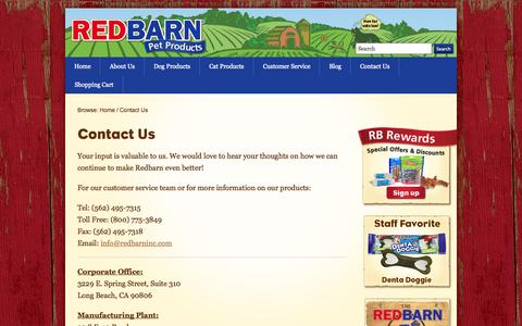 Screenshot of Contact Page redbarninc.com - Contact Us - RedBarn Pet Treats and Food - captured Oct. 26, 2014