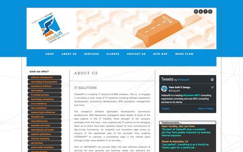 Screenshot of About Page vistasofft.com - About Us | BPO Consultants | Digital Marketing Agency | Vista Sofft - captured Nov. 7, 2017