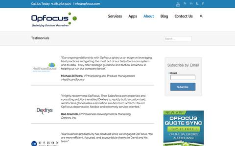 Customer Testimonials  | OpFocus, Inc.