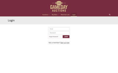 Screenshot of Login Page gamedayauctions.com - Login   The Sports Mall LLC - FSU Auctions - captured July 16, 2018