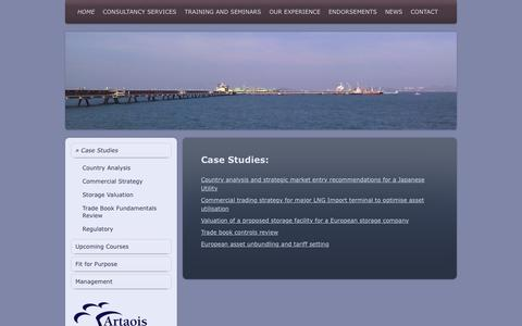 Screenshot of Case Studies Page artaoisconsulting.com - Artaois Ltd.  Energy Market Experts for Strategic Solutions, - Case Studies - captured Feb. 6, 2016