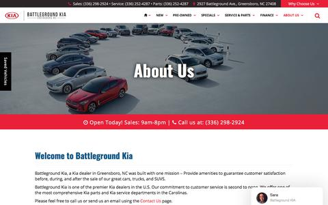 Screenshot of About Page battlegroundkia.com - Kia and Used Car Dealer in Greensboro | Battleground Kia - captured Aug. 1, 2018