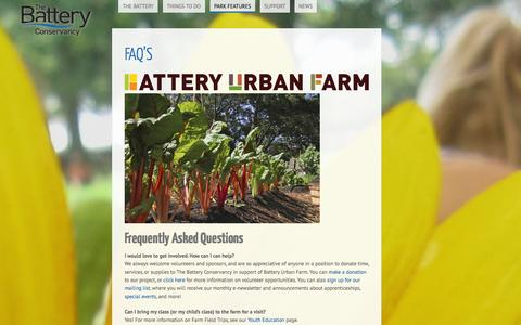 Screenshot of FAQ Page thebattery.org - FAQ's | The Battery Conservancy - captured Oct. 7, 2014
