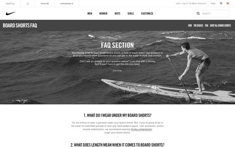 Screenshot of FAQ Page hurley.com - FAQ: What to Wear Under Board Shorts & Other Questions. Hurley.com - captured Oct. 12, 2017