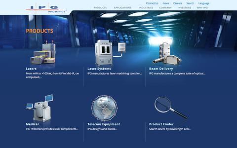 Screenshot of Products Page ipgphotonics.com - IPG - Products - captured July 27, 2018