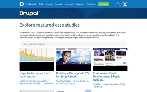 Screenshot of Case Studies Page drupal.org - Explore featured case studies | Drupal.org - captured July 12, 2019