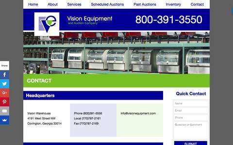 Screenshot of Contact Page visionequipment.com - Contact | Vision Equipment - captured Dec. 14, 2016
