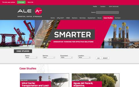 Screenshot of Case Studies Page ale-heavylift.com - ALE – Together, we are Smarter, Safer, Stronger - captured Oct. 8, 2014
