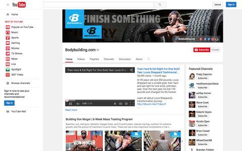 Screenshot of YouTube Page youtube.com - Bodybuilding.com  - YouTube - captured Nov. 23, 2015