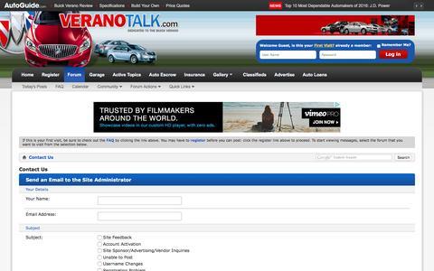 Screenshot of Contact Page veranotalk.com - Contact Us - Verano Talk Forum : Buick Verano Forums - captured March 10, 2016