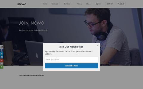 Screenshot of Jobs Page incwo.com - incwo - CRM and invoicing software - captured Feb. 21, 2018