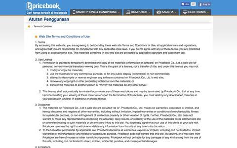 Screenshot of Terms Page pricebook.co.id - Pricebook | Aturan Penggunaan - captured Sept. 12, 2014