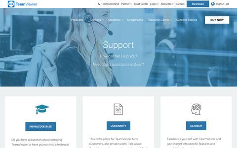 Screenshot of Support Page teamviewer.com - Support - TeamViewer - captured July 16, 2019
