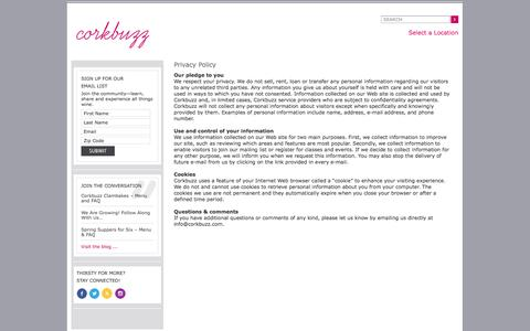 Screenshot of Privacy Page corkbuzz.com - Our Privacy Policy | Corkbuzz Wine Studio - captured Sept. 25, 2014