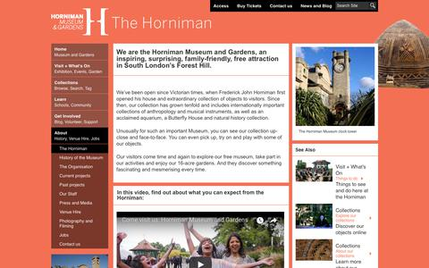 Screenshot of About Page horniman.ac.uk - Horniman Museum and Gardens - About - Horniman Museum and Gardens - captured Sept. 24, 2018