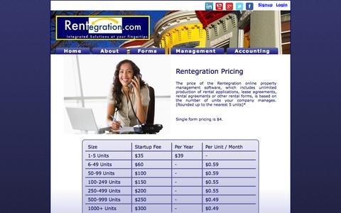 Screenshot of Pricing Page rentegration.com - Property Management Software Pricing | Rentegration - captured Oct. 6, 2014