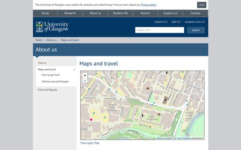 Screenshot of Maps & Directions Page gla.ac.uk - University of Glasgow - About us - Maps and travel - captured Feb. 28, 2017