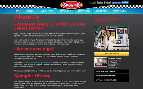 Screenshot of About Page spanglesinc.com - About Spangles Restaurants - Spangles - captured June 10, 2018