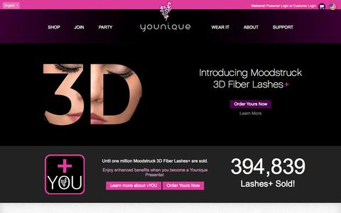 Screenshot of Home Page youniqueproducts.com - Younique - Uplift. Empower. Validate. - captured Aug. 2, 2015