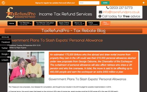 Screenshot of Blog taxrefundpro.co.uk - Claim your tax refund from HMRC - captured Oct. 7, 2014
