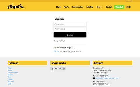 Screenshot of Login Page cleopatra-groningen.nl - Cleopatra - captured Sept. 28, 2018