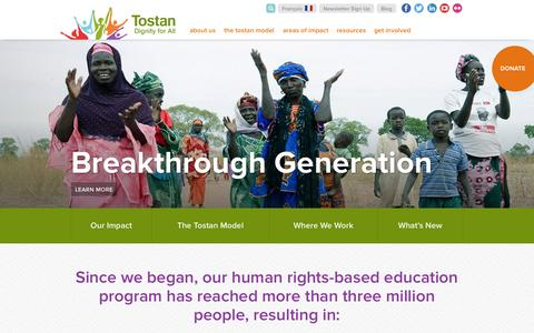 Screenshot of Home Page tostan.org - Tostan | Dignity for All - captured Oct. 13, 2015