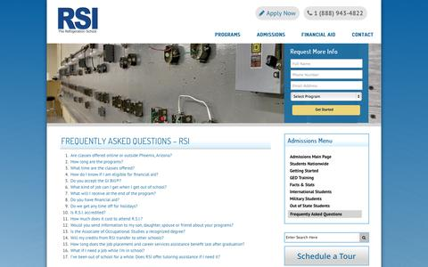 Screenshot of FAQ Page refrigerationschool.com - Frequently Asked Questions about HVAC, Refrigeration & Electrical Training Programs | Refrigeration School, Inc. (RSI) - captured Oct. 6, 2014