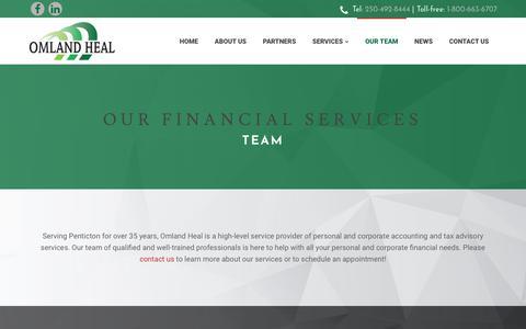 Screenshot of Team Page omlandheal.com - Financial Services Penticton | Our Team | Omland Heal - captured Nov. 10, 2017