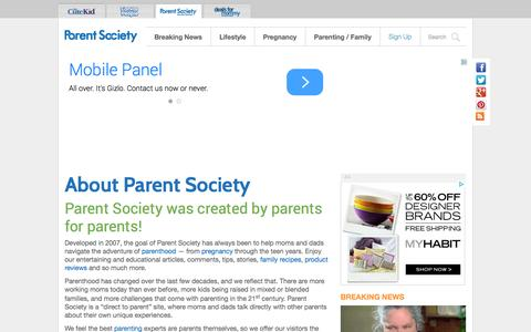 Screenshot of About Page parentsociety.com - About Parent Society | Parenting Resource Community Created By Parents - captured Oct. 29, 2014