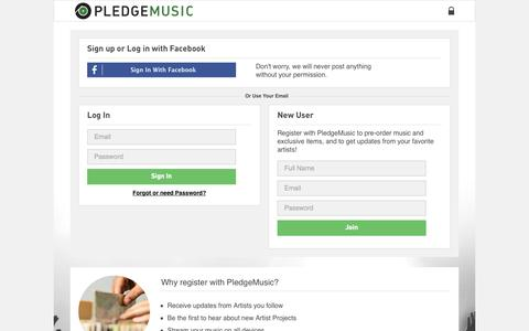 Screenshot of Signup Page pledgemusic.com - Sign Up or Sign In | PledgeMusic - captured Sept. 18, 2014
