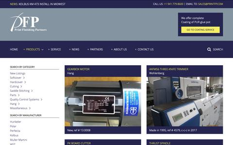 Screenshot of Products Page printfp.com - Products - Print Finishing Partners - captured Sept. 29, 2018