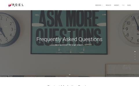 Screenshot of FAQ Page roelcreative.com - Frequently Asked Questions on Roel Creative - captured Dec. 26, 2016