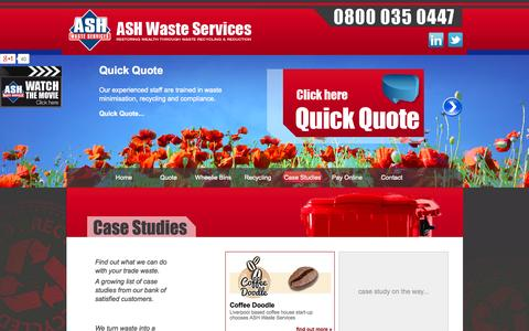 Screenshot of Case Studies Page ashwasteservices.co.uk - Waste Management Case Studies | Ash Waste Services - captured Oct. 4, 2014