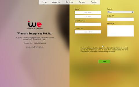 Screenshot of Contact Page winmark.in - WEPL | Contact Us - captured Oct. 7, 2014