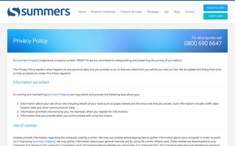 Screenshot of Privacy Page summersproperty.com - Privacy Policy | Summers Property - captured Dec. 2, 2016