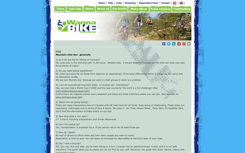 Screenshot of FAQ Page wannabike.com - FAQ about WannaBike | Wannabike Curacao Bike Tours - captured Oct. 26, 2017