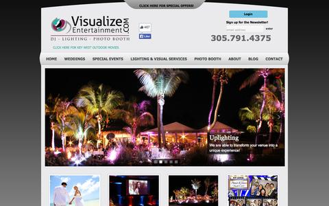Screenshot of Home Page visualize-entertainment.com - Visualize Entertainment - Wedding DJ's - Key West - Lighting - Photo Booth for Key West & Florida KeysVisualize Entertainment, Inc. DJ-Lighting-Photo Booth servicing Key West, Islamorada, & Key Largo! | Award-winning entertainment for your wedding or - captured Oct. 9, 2014